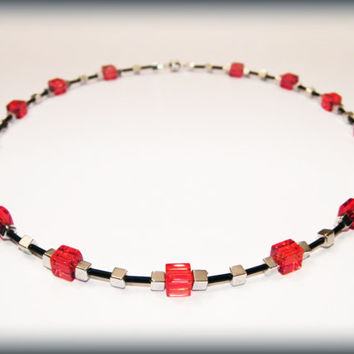 Red cube necklace .. Red, black and silver beads with a magnetic clasp