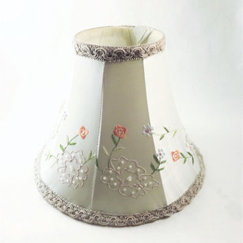 Beaded Shade, Small Lamp Shade, Silver Shade with Embroidered Flowers, Gray Clip on Lamp Shade