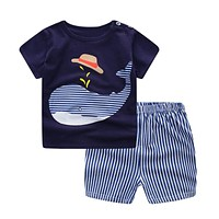 Baby Boy Clothes Summer Newborn Baby Boys Clothes Set Cotton Baby Clothing Suit (Shirt+Pants) Plaid Infant Clothes Set