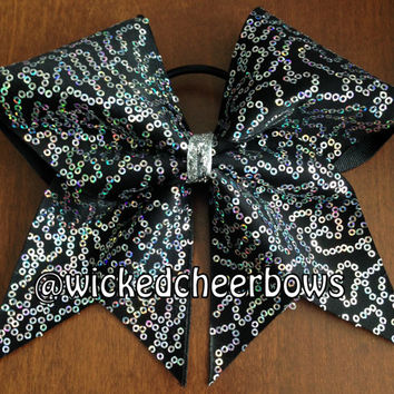 Cheer Bow - Silver on Black Squiggle Sequins