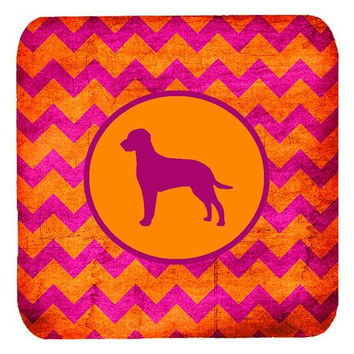 "Caroline's Treasures SDK1023-B-FC Curly Coated Retriever Chevron Pink and Orange Foam Coasters (Set of 4), 3.5"" H x 3.5"" W, Multicolor"