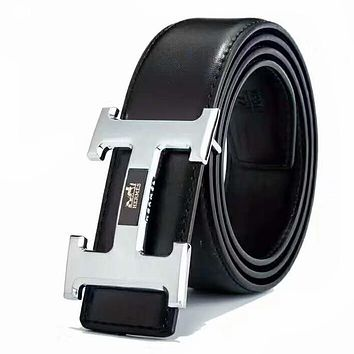 Hermes 2019 new men and women wild H letter simple smooth buckle belt silver
