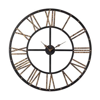 129-1024 Metal Framed Roman Numeral Open Back Wall Clock