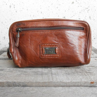 Vintage Leather Bag MARCO POLO Brown Leather Purse , Pouches / Medium / Made in Italy / Gift for Her . Him