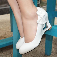 New fashion Women Wedding High Heels 2015 Cute Bowtie Heart Hollow Out Wedges Heel Pumps Shoes = 1933061124