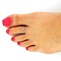 Sterling Silver Tribal design Toe Ring Adjustable toe ring memory tea ring zigzag (T-19) knuckle ring