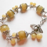 Olivine Jade bracelet with a BEE