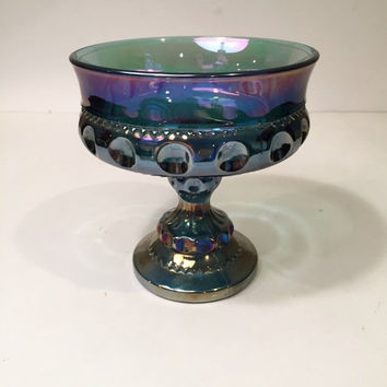Blue Carnival Glass Kings Crown Pedestal Bowl, Iridescent Thumbprint Candy Dish or Candy Bowl, Indiana Glass Blue Carnival Wedding Goblet