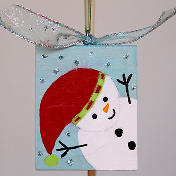 Wood Holiday Ornament with Painted Snowman, Handmade Tree Decoration, Christmas Ornament, Primitive Art