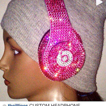 Dr Dre Beats Headphones Custom Made with Swarovski Elements Pink