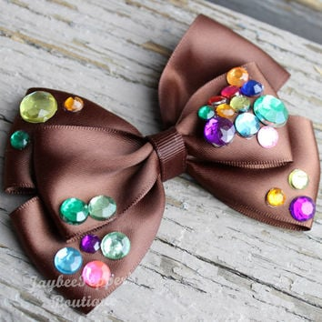 Mine train ride hair bow Disney seven dwarfs hair clip gems satin ribbon ride inspired cute