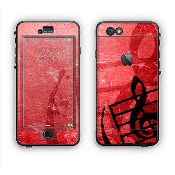 The Scratched Red Surface with Black Music Note Apple iPhone 6 Plus LifeProof Nuud Case Skin Set