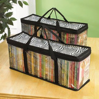 DVD Storage Organizer Zebra - Classic Set of 2 Storage Bags with Room for 40 Dvds Each for a Total of 80