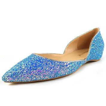 ENMAYER Women Flats Loafers Dress Shoes Glitter Pointed Toe Slip-on Bling Shallow Soli
