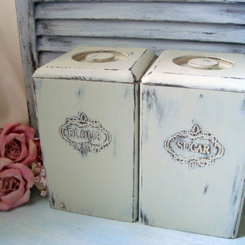 Shabby Chic Cream Painted Vintage Wooden Canisters, Flour and Sugar Canister Set, Pair of Distressed Kitchen Canisters, Cottage Chic