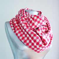 Handmade Check Infinity Scarf - Tweed - Pink White - Winter Autumn Scarf