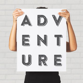 Large Print Poster Adventure Inspirational Hipster Black and White Minimalism