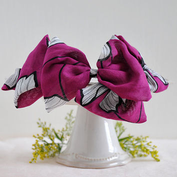 Autumn Bow - big bow headband, red violet, black and white line drawing, flower pattern