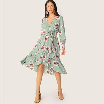 Ruffle Trim Wrap Belted Floral Midi Dress Women Lantern Sleeve V Neck Boho Dress High Waist Long Sleeve Dress