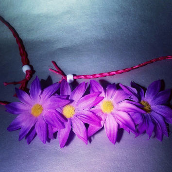 Rainbow daisy Flower crown, colorful, festival, hair vine, garden wedding, summer headband, edc, rave outfit, accessories, coachella, fairy,