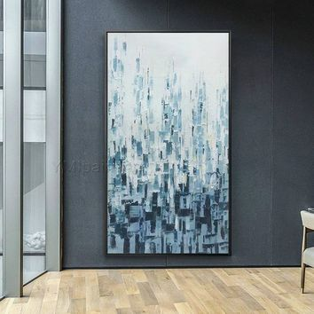 Abstract Acrylic painting on canvas Original palette knife extra large blue agate Wall Art Pictures for living room heavy textured Impasto