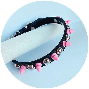Spiked Dog Pet Collar GENUINE LEATHER  - Size Small:  Black with Pink Spikes and Silver Tone Studs