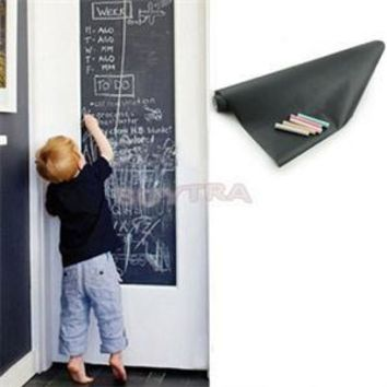 Hot 45x200cm Chalk Board Blackboard Sticky Removable Vinyl Draw Decor Mural Decals Art Chalkboard Wall Drawing For Kids Rooms