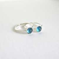 London Blue Topaz Ring in Sterling Silver, Bezel Ring, Rose Cut Round, London Topaz Bezel Ring, December Birthstone, Icy Blue, Free Shipping