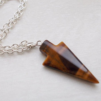 tigers eye necklace arrow necklace semi precious gemstone jewellery silver necklace tigers eye pendant fashion jewellery handmade necklace