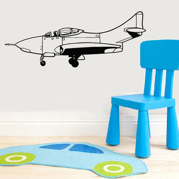 Vinyl Decal Airplane Plane Monoplane Nursery Children Babes Kids Home Wall Decor Stylish Sticker Mural Unique Design for Any Room V896