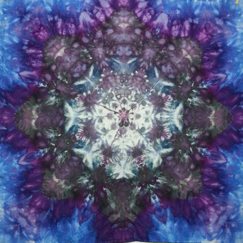 mandala tie dye tapestry or wall hanging in black grey purple and blue