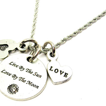 Live By The Sun Love By The Moon Stainless Steel Rope Chain Necklace