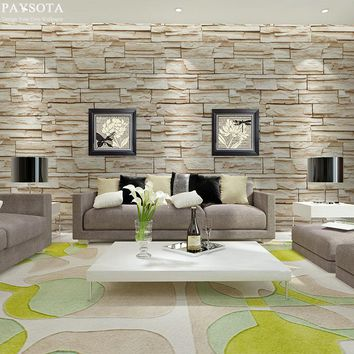PAYSOTA South Korean Style Modern 3D Brick Grain Wallpaper Stone Bed Room Livingroom TV Setting Background Wall Paper