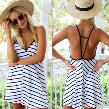 2017 New Sexy Straps Loose Camisole Dress +Free Gift -Random Necklace-122