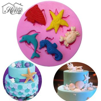 Fish Star Crab Sea World Theme Silicone Mold Bakeware Fondant Cake Decorating Tools Chocolate Pudding Mold Kitchen Gadgets
