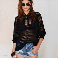 Black Cut Out Mesh Shirt