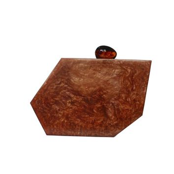 Clay Toned Abstract Acrylic Box Clutch