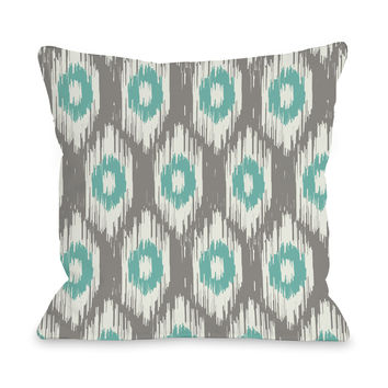 Kelly Ikat - Gray Turquoise Outdoor Throw Pillow by OneBellaCasa.com