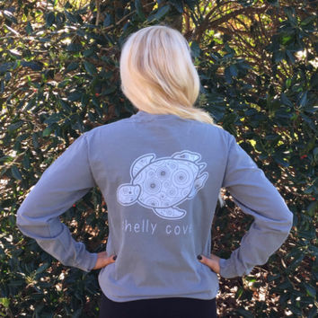 """Stormy Gray """"Washed"""" Spiral Long Sleeve Pocket Tee"""