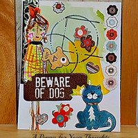 Beware of Dog Handmade All Occasion Card . Ready to Ship.