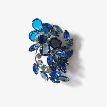 Vintage 60s Rhinestone BROOCH / 1960s Sparkling Sapphire Blue & Silver Open Back Oversized Pin