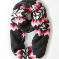 AEO Women's Intarsia Loop Scarf (Charcoal)