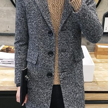 2017 new spring men stylish winter coats men woolen blends peacoat men's warm long wool trench pea coat overcoat