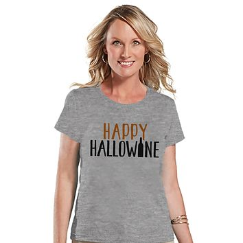 Women's Halloween Shirt - Funny Halloween Costume - Hallowine - Wine Lover Halloween Party Shirt - Adult Halloween Costumes - Grey Shirt