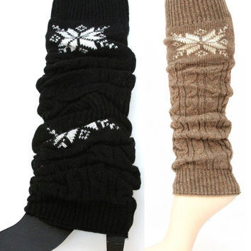 Snowflake Leg Warmers: Black or Dark Tan