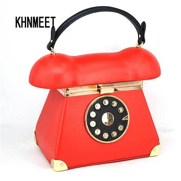 New Fashion vintage Phone Styling Red Black pu leather ladies Evening Bag casual totes purse women's Handbags clutches bag Z072
