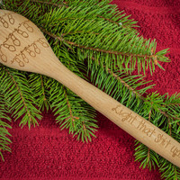Christmas Lights, Light that sh*t up Engraved Spoon  Beech Wood Personalized Gifts - Holiday Gift-Christmas Gift - Holiday Kitchen Ideas