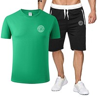 VERSACE Fashion Men Casual Print Short Sleeve Top Shorts Sport Set Two-Piece Green