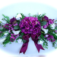 Silk Floral Swag on Artificial Boxwood Base with Purple Hydrangea  and White Calla Lily Flowers, Mothers Day Flowers, Door Swag, Wreath