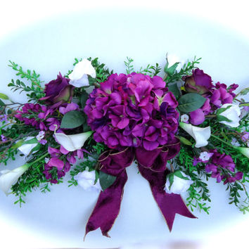 Silk floral swag spring wreath twig from naturestrueart on etsy silk floral swag on artificial boxwood base with purple hydrangea and white calla lily flowers mightylinksfo